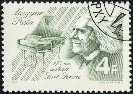 liszt: HUNGARY - CIRCA 1986: A stamp printed in Hungary shows Franz Liszt (1811-1886), Composer, circa 1986 Editorial