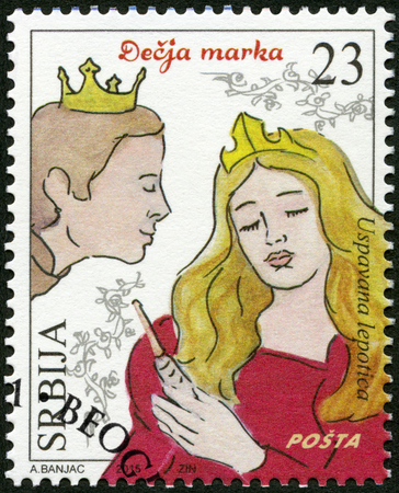SERBIA - CIRCA 2015: A stamp printed in Republic of Serbia shows The Sleeping Beauty, series Characters from childrens books, circa 2015 Editorial