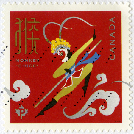 CANADA - CIRCA 2016: A stamp printed in Canada shows Monkey King Singe, Year of the Monkey, circa 2016