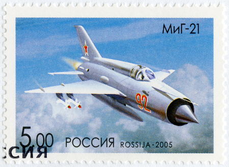 RUSSIA - CIRCA 2005: A stamp printed in Russia shows The Mikoyan-Gurevich MiG-21, series OKB planes by A.I.Mikoyan, the aircraft designer, circa 2005 Editorial