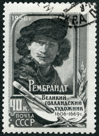 printmaker: USSR - CIRCA 1956: A stamp printed in USSR shows Rembrandt (1606-1669), painter, circa 1956