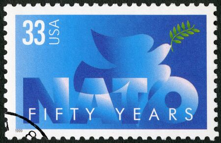 UNITED STATES OF AMERICA - CIRCA 1999: A stamp printed in USA devote NATO, 50th Anniversary, circa 1999 Editorial