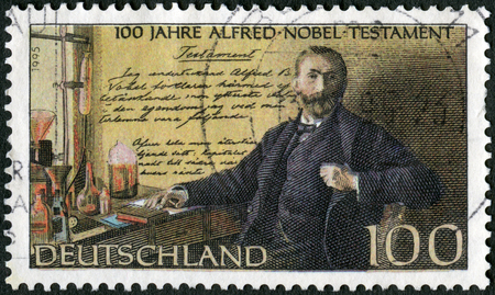 GERMANY - CIRCA 1995: A stamp printed in Germany shows Alfred Bernhard Nobel (1833-1896), in laboratory, Nobel Prize Fund Established, circa 1995