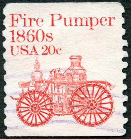 UNITED STATES OF AMERICA - CIRCA 1981: A stamp printed in USA shows Fire Pumper 1860s, series Transportation Colls series, circa 1981