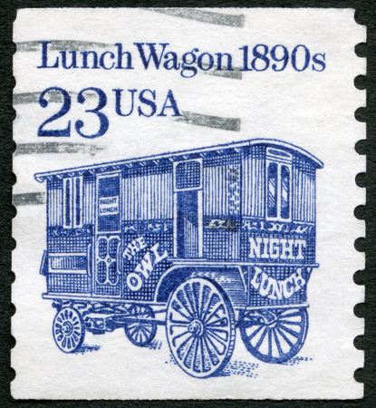 UNITED STATES OF AMERICA - CIRCA 1990: A stamp printed in USA shows Lunch Wagon 1890s, series Transportation Colls series, circa 1990 Editorial