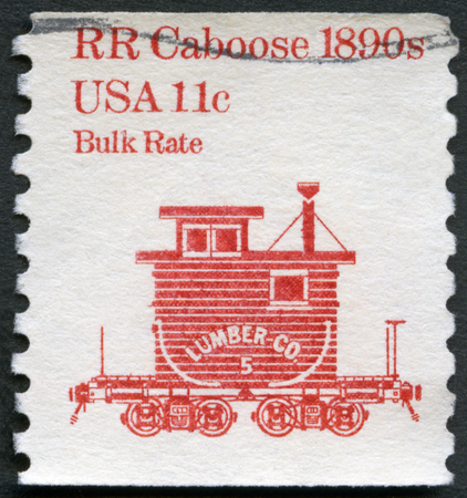 UNITED STATES OF AMERICA - CIRCA 1981: A stamp printed in USA shows RR Caboose 1890s, Bulk Rate, series Transportation Colls series, circa 1981 Editorial