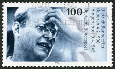 theologian: GERMANY - CIRCA 1995: A stamp printed in Germany shows Dietrich Bonhoeffer (1906-1945), Protestant Theologian, circa 1995