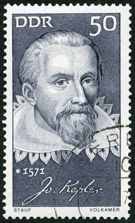 johannes: GERMANY - CIRCA 1971: A stamp printed in Germany shows Johannes Kepler (1571-1630), mathematician, Honoring prominent Germans, circa 1971