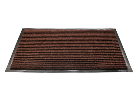 Door mat on white background   Stock Photo