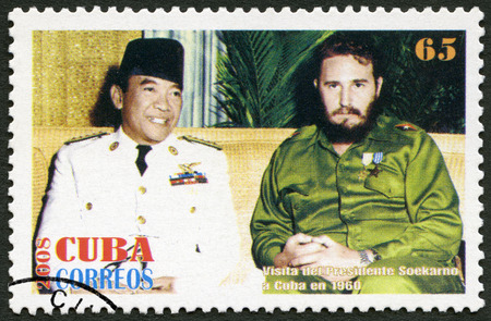 CUBA - CIRCA 2008: A stamp printed in Cuba shows commander Fidel Castro (1926-2016) and Sukarno (1901-1970) President of Indonesia, in 1960, Havana, Cuba, circa 2008