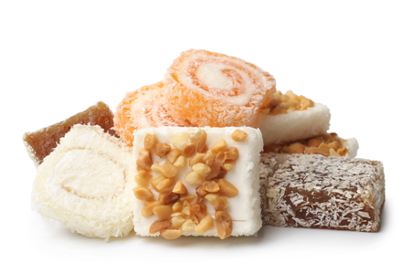 Turkish delight on white background