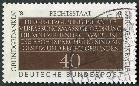 GERMANY - CIRCA 1981: A stamp printed in Germany shows Statement of Constitutional Freedom, Fundamental Concept of Democracy, circa 1981