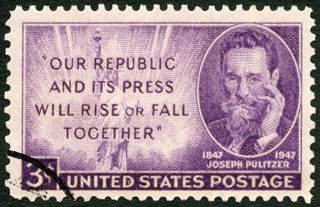 UNITED STATES OF AMERICA - CIRCA 1947: A stamp printed in USA shows Joseph Pulitzer (1847-1911) Birth Centenary, journalist, circa 1947