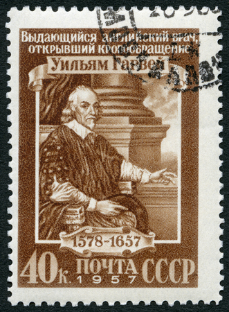 USSR - CIRCA 1957: A stamp printed in USSR shows William Harvey (1578-1657), physician, circa 1957