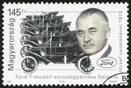 HUNGARY - CIRCA 2013: A stamp printed in Hungary shows Jozsef Galamb (1881-1955), Hungarian-American mechanical engineer, Ford Model T century, circa 2013 Editöryel
