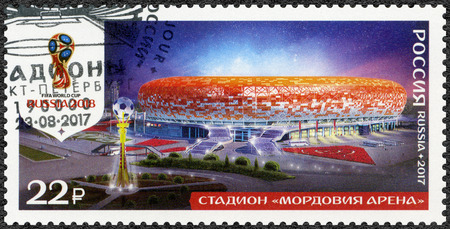 RUSSIA - CIRCA 2017: A stamp printed in Russia shows stadium in Saransk, Mordovia Arena, series Stadiums, 2018 Football World Cup Russia, circa 2017