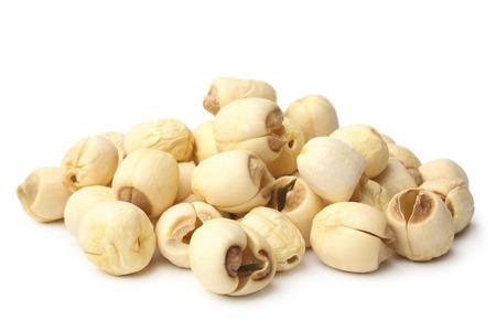 Lotus seeds on white background