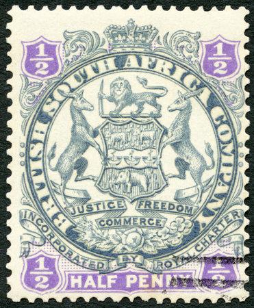 BRITISH CENTRAL AFRICA - CIRCA 1893: A stamp printed in British Central Africa shows symbol of British South Africa company, circa 1893