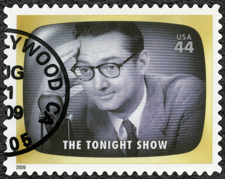 UNITED STATES OF AMERICA - CIRCA 2009: A stamp printed in USA shows The Tonight show, Early TV Memory, circa 2009 Editorial