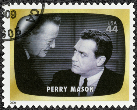 UNITED STATES OF AMERICA - CIRCA 2009: A stamp printed in USA shows Perry Mason, Early TV Memory, circa 2009 Editorial