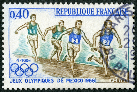 FRANCE - CIRCA 1968: A stamp printed in France shows Relay Race, 19th Olympic Games, Mexico City, circa 1968