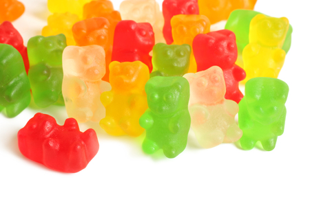 Colorful gummy bears on white background