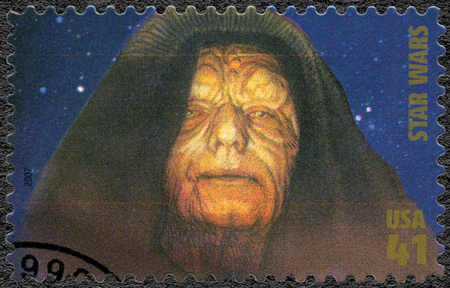 UNITED STATES OF AMERICA - CIRCA 2007: A stamp printed in USA shows Emperor Sheev Palpatine, Darth Sidious series Premiere of Movie Star Wars 30 anniversary, circa 2007