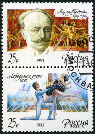 RUSSIA - CIRCA 1993: A stamp printed in Russia shows Marius Ivanovich Petipa (1818-1910) and episodes from the ballet Swan Lake, Russian ballet dancer, pedagogue and choreographer, circa 1993 Editorial