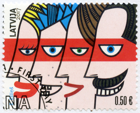 LATVIA - CIRCA 2017: A stamp printed in Latvia shows family, International Day of Families, circa 2017