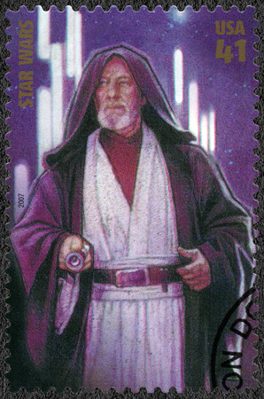 UNITED STATES OF AMERICA - CIRCA 2007: A stamp printed in USA shows Obi-Wan Ben Kenobi, series Premiere of Movie Star Wars 30 anniversary, circa 2007