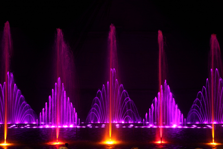 Dancing water fountain show, a horizontal picture Stock Photo