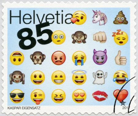 SWITZERLAND - CIRCA 2017: A stamp printed in Switzerland shows Emoji, circa 2017