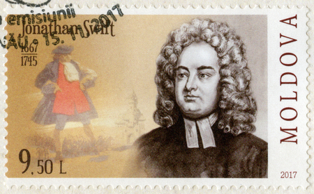 MOLDOVA - CIRCA 2017: A stamp printed in Republic of Moldova shows Jonathan Swift (1667-1745), author, poet, series Eminent personalities, circa 2017