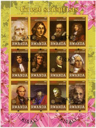 RWANDA - CIRCA 2009: A stamp printed in Republic of Rwanda shows portraits, series Great scientists, circa 2009 Editorial