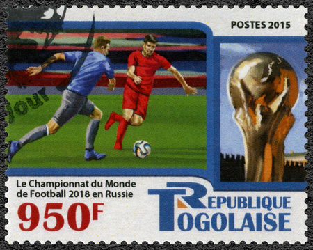 TOGO - CIRCA 2015: A stamp printed in Togolese Republic shows footballer, 2018 Football World Cup Russia, circa 2015