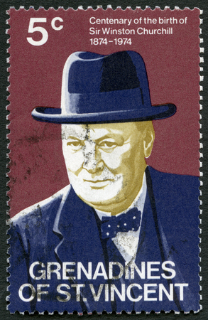 GRENADINES OF SAINT VINCENT - CIRCA 1974: A stamp printed in Saint Vincent and the Grenadines shows Sir Winston Spencer Churchill (1874-1965), statesman, Prime Minister, Centenary of the birth, circa 1974 Editorial