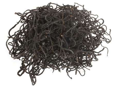 Dried Sargassum Pallidum on white background