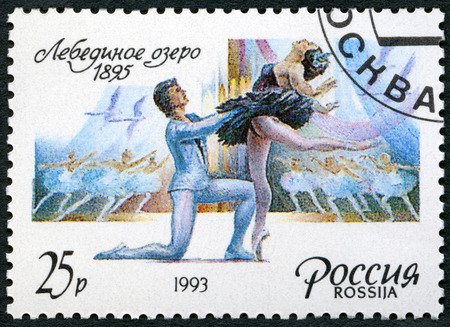 RUSSIA - CIRCA 1993: A stamp printed in Russia shows episodes from the ballet Swan Lake, dedicated Marius Ivanovich Petipa (1818-1910) Russian ballet dancer, pedagogue and choreographer, circa 1993 Editorial