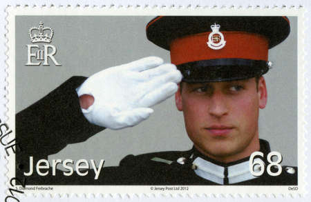 JERSEY - CIRCA 2012: A stamp printed in Jersey shows William Arthur Philip Louis, Prince William, Duke of Cambridge, 30th Birthday, circa 2012
