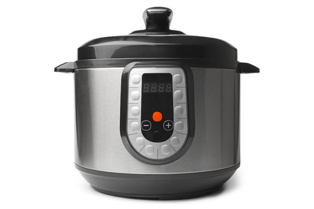 Automatic multicooker and pressure cooker on white background