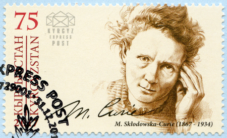 KYRGYZSTAN - CIRCA 2017: A stamp printed in Kyrgyzstan shows Marie Sklodowska Curie (1867-1934), physicist and chemist, series Eminent personalities, circa 2017