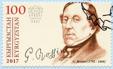 KYRGYZSTAN - CIRCA 2017: A stamp printed in Kyrgyzstan shows Gioachino Antonio Rossini (1792-1868), composer, circa 2017