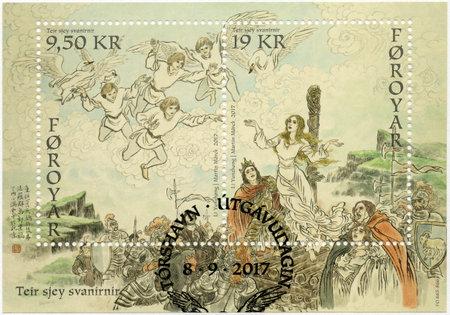 FAROE ISLANDS - CIRCA 2017: A stamp printed in Faroe Islands shows The Seven Swans, Faroese tales and Legends by Jakob Jakobsen, Copenhagen 1898 - 1901, circa 2017 Editorial
