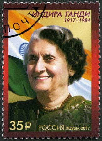 RUSSIA - CIRCA 2017: A stamp printed in Russia shows Indira Gandhi (1917-1984), Indian Prime Minister, 100th Anniversary of the Birth, circa 2017 Sajtókép