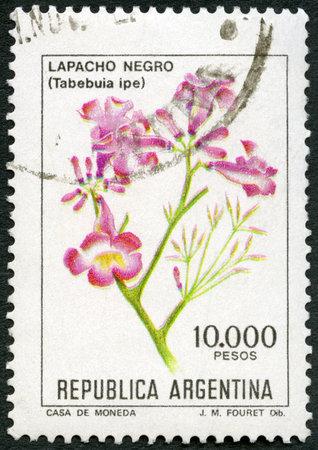 ARGENTINA - CIRCA 1982: A stamp printed in Argentina shows Lapacho Negro, Tabebuia ipe, circa 1982