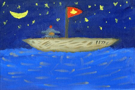 Man on boat in starlit night, oil painting  Stock Photo