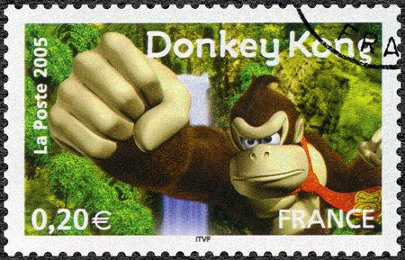 FRANCE - CIRCA 2005: A stamp printed in France shows Donkey Kong, Games, circa 2005 Editorial