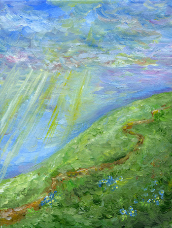 Oil painting hill landscape with road, wildflowers, sky, clouds and sunbeams  Stock Photo