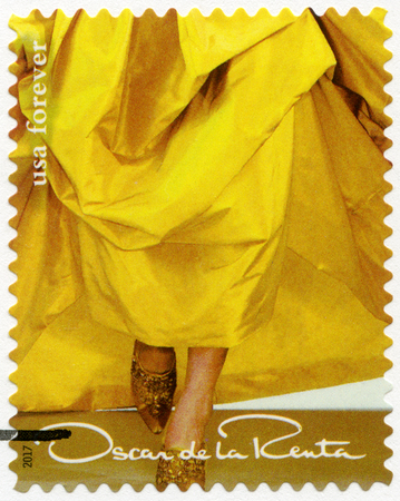 UNITED STATES OF AMERICA - CIRCA 2017: A stamp printed in USA shows details from exquisite gown of  Oscar de la Renta (1932-2014), fashion designer, circa 2017
