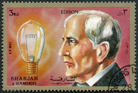 SHARJAH & DEPENDENCIES - CIRCA 1972: un timbro stampato in Shiarjah & Dependencies mostra Thomas Alva Edison (1847-1931), circa 1972
